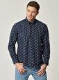 AC&Co / Altınyıldız Classics Tailored Slim Fit Dar Kesim Düğmeli Yaka Baskılı Gömlek 4A2021100160 Lacivert